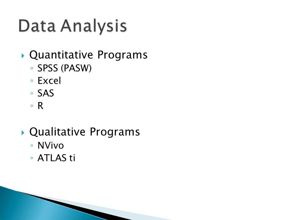  Quantitative Programs ◦ SPSS (PASW) ◦ Excel ◦ SAS ◦ R  Qualitative Programs ◦ NVivo ◦ ATLAS ti