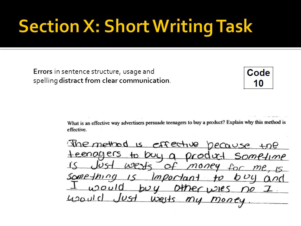 Errors in sentence structure, usage and spelling distract from clear communication.