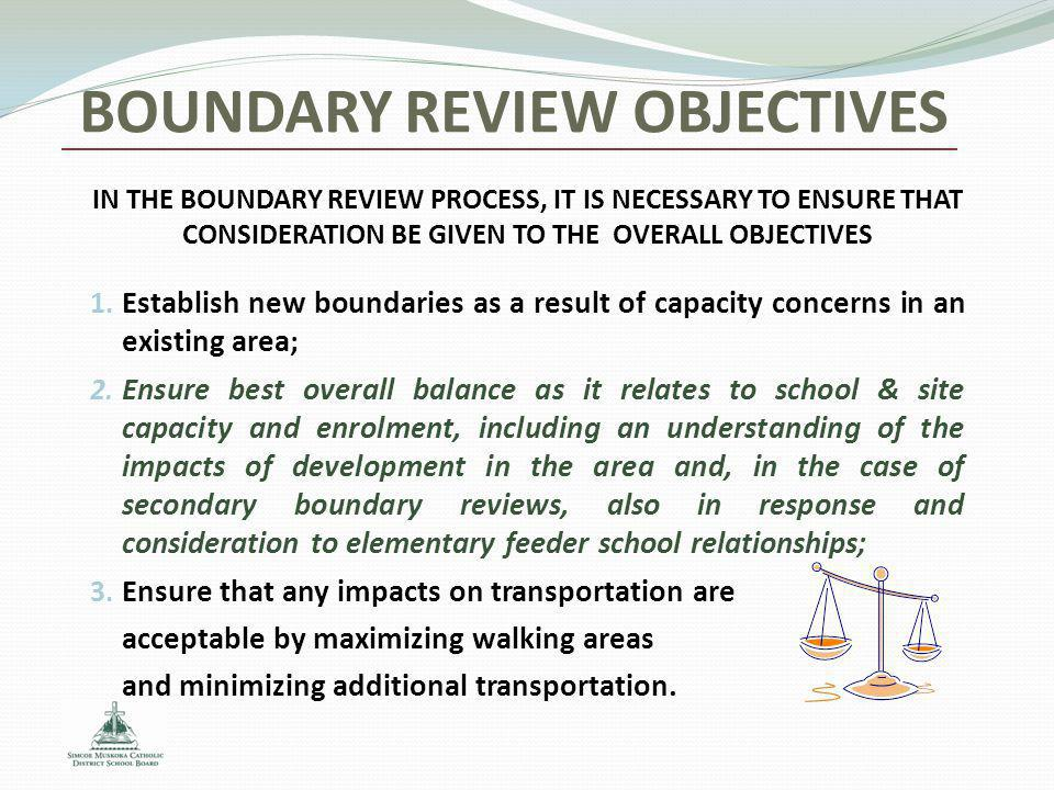 BOUNDARY REVIEW OBJECTIVES 1. Establish new boundaries as a result of capacity concerns in an existing area; 2. Ensure best overall balance as it rela