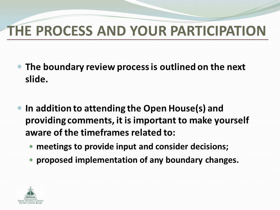 THE PROCESS AND YOUR PARTICIPATION The boundary review process is outlined on the next slide. In addition to attending the Open House(s) and providing