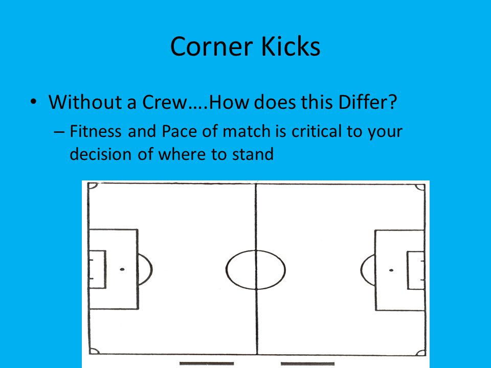 Corner Kicks Without a Crew….How does this Differ? – Fitness and Pace of match is critical to your decision of where to stand