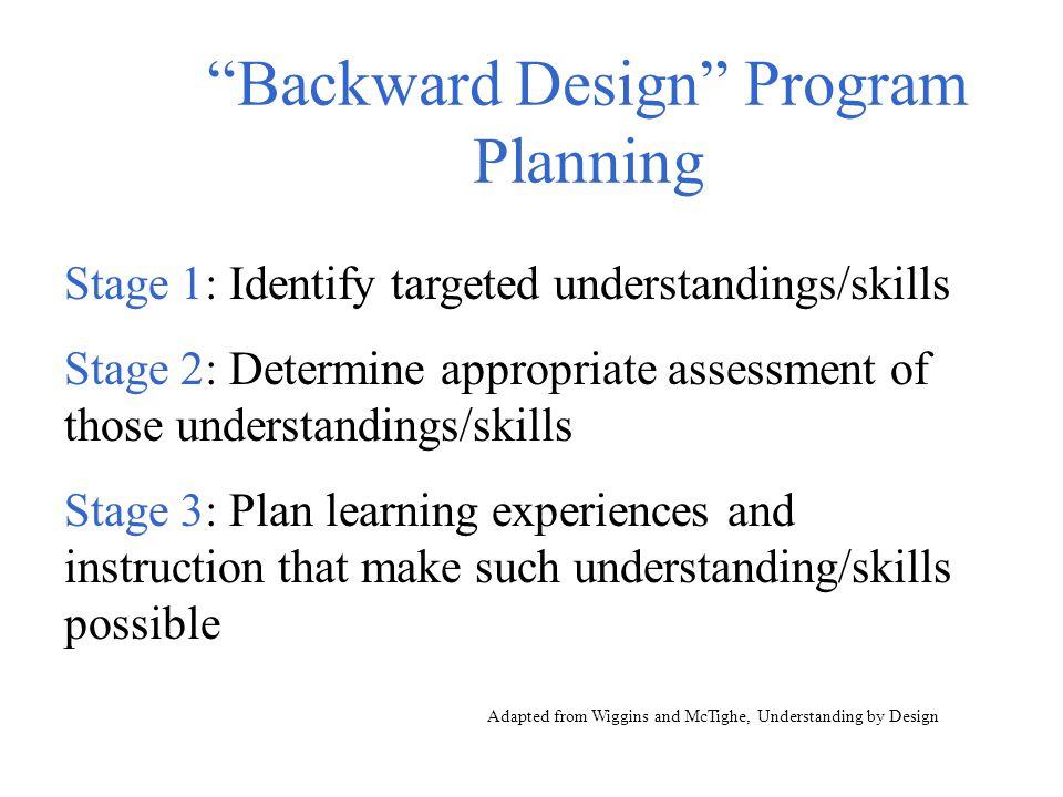 """Backward Design"" Program Planning Stage 1: Identify targeted understandings/skills Stage 2: Determine appropriate assessment of those understandings/"