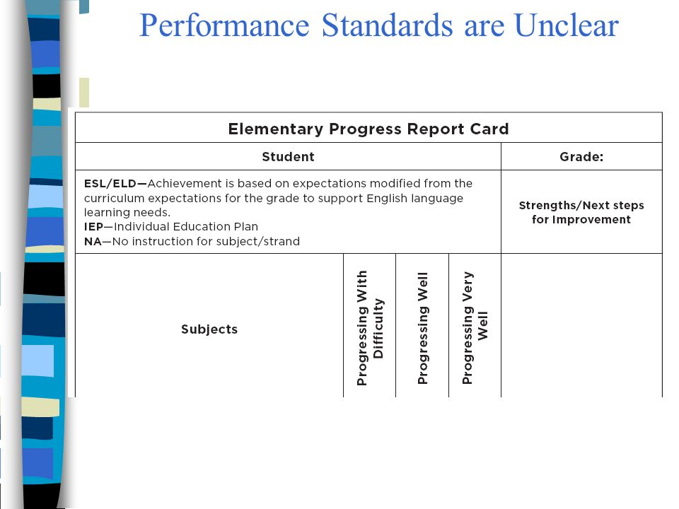 Performance Standards are Unclear