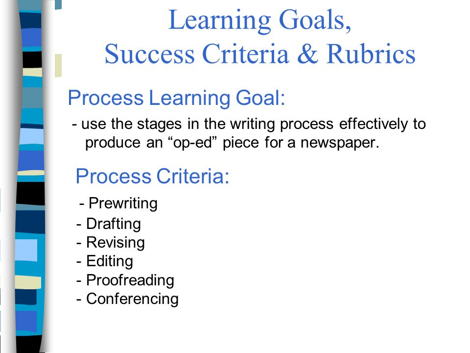 """Learning Goals, Success Criteria & Rubrics Process Learning Goal: - use the stages in the writing process effectively to produce an """"op-ed"""" piece for"""