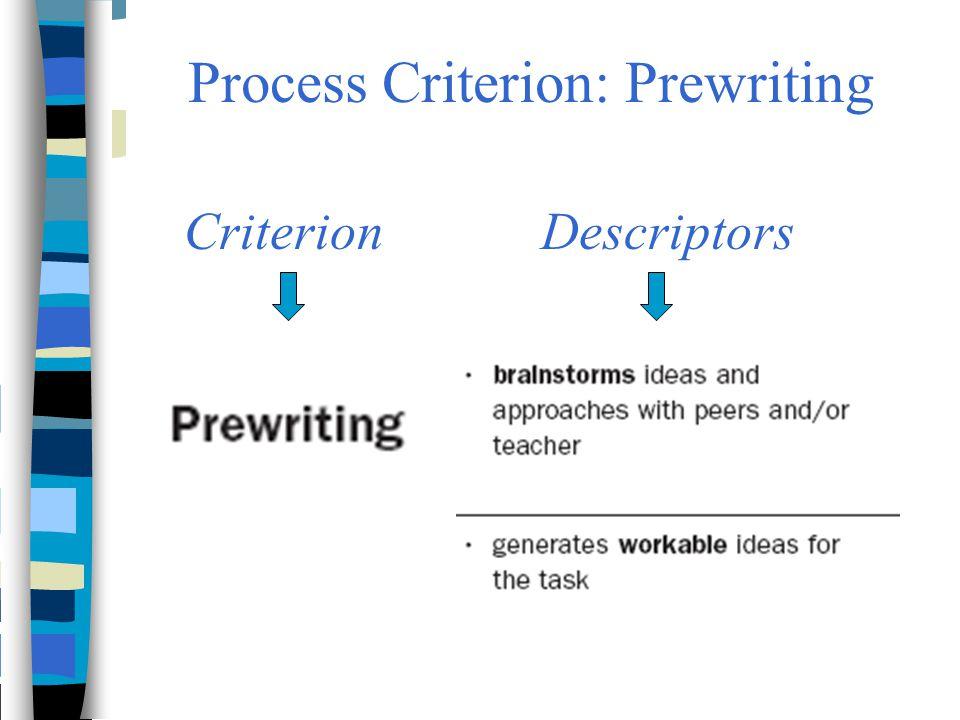 Process Criterion: Prewriting CriterionDescriptors