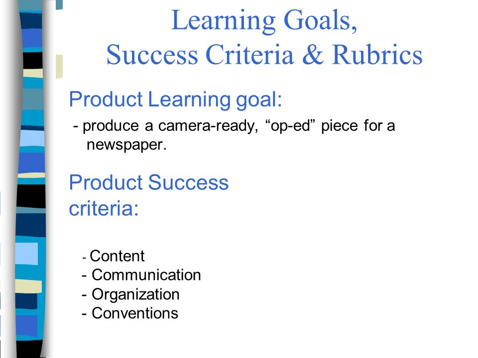 """Learning Goals, Success Criteria & Rubrics Product Learning goal: - produce a camera-ready, """"op-ed"""" piece for a newspaper. Product Success criteria: -"""