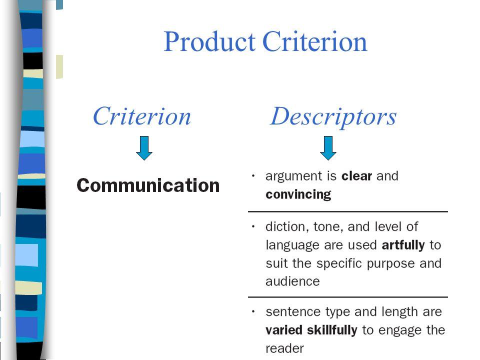 Product Criterion CriterionDescriptors