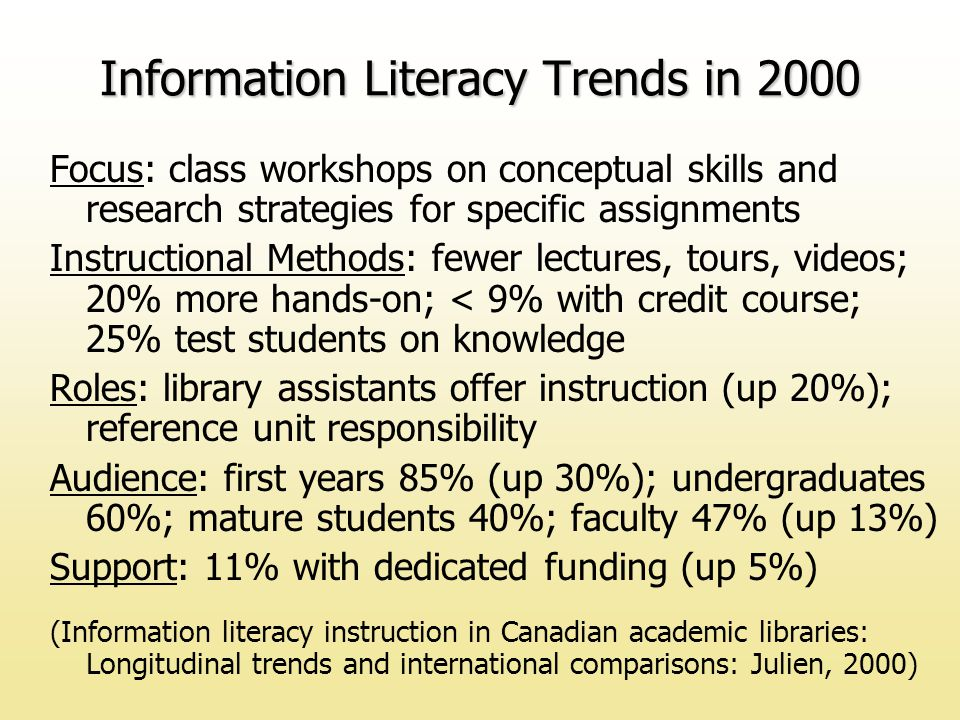Focus: class workshops on conceptual skills and research strategies for specific assignments Instructional Methods: fewer lectures, tours, videos; 20% more hands-on; < 9% with credit course; 25% test students on knowledge Roles: library assistants offer instruction (up 20%); reference unit responsibility Audience: first years 85% (up 30%); undergraduates 60%; mature students 40%; faculty 47% (up 13%) Support: 11% with dedicated funding (up 5%) (Information literacy instruction in Canadian academic libraries: Longitudinal trends and international comparisons: Julien, 2000) Information Literacy Trends in 2000
