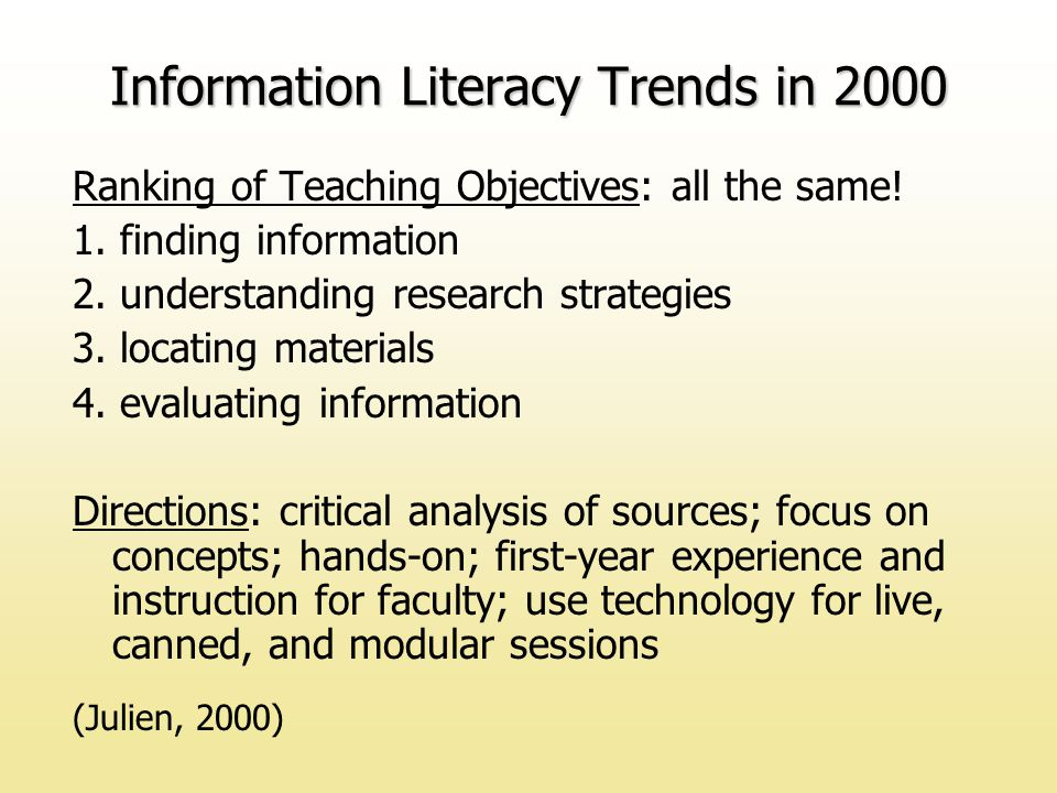 Ranking of Teaching Objectives: all the same. 1. finding information 2.