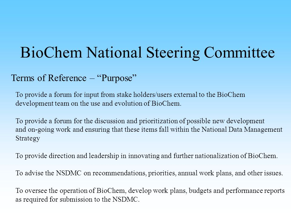 BioChem National Steering Committee Regional Reports 2007 - See appendix… NCR report Major effort directed towards conversion from Oracle Forms to Java BioChem has 2 basic modules The Query Module (used to extract data) The Edits Module (used to load data)