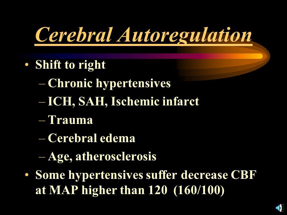 Cerebral Autoregulation MAP below lower limit –hypoperfusion with ischemia MAP above upper limit – breakthrough vasodilation –Segmental pseudospasm ( sausage-string ) –fluid extravasation
