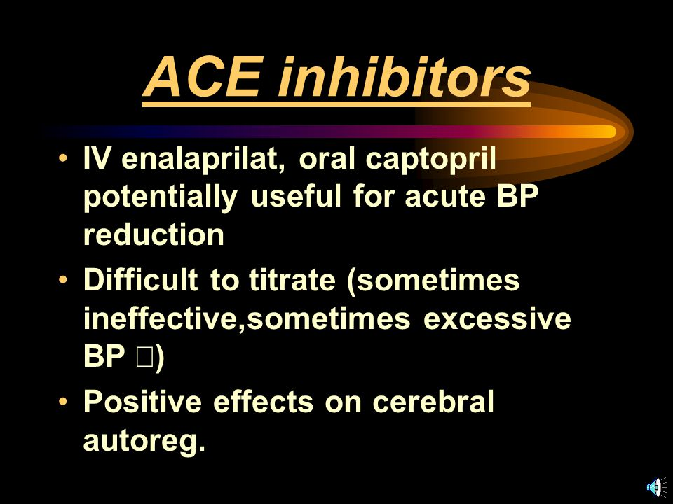 Labetalol Combined ,  adrenergic blockade Usual contraindications to  - blockade Rapidly effective when given IV; Onset < 5 min, peak 5-10 min, duration 2-6 hr (sometimes longer) 5 - 10 mg iv q10 minutes