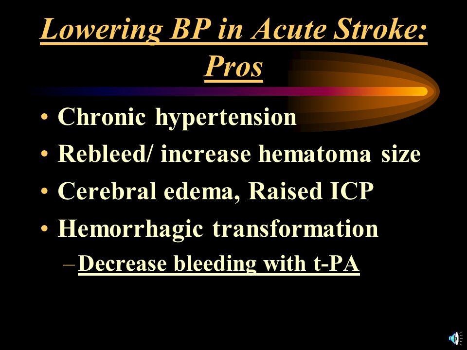 Cases Ischemic CVA, BP 225/105 (145) Hemorrhagic CVA, BP 215 /110 (145) –Would you actively lower the BP.
