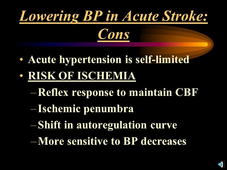 Lowering BP in Acute Stroke: Pros Chronic hypertension Rebleed/ increase hematoma size Cerebral edema, Raised ICP Hemorrhagic transformation –Decrease bleeding with t-PA