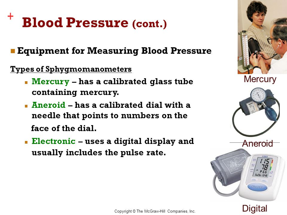 Copyright © The McGraw-Hill Companies, Inc. + Blood Pressure (cont.) Equipment for Measuring Blood Pressure Types of Sphygmomanometers Mercury – has a