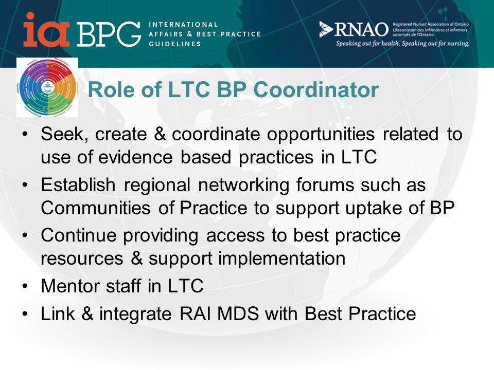 SUSTAINABILITY Strategies MOHLTC Best Practice LTC Initiative & RNAO BP LTC Coordinators