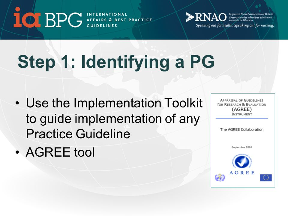 TOOLKIT FOR GUIDELINE IMPLEMENTATION 6 Step Process 1.Selecting a CPG (BPG or HWE) 2.Stakeholder Analysis 3.Environmental Scan 4.Implementation Strategy 5.Evaluating Success 6.Resources