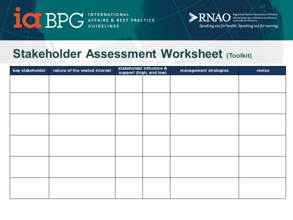 Take out the Stakeholder Assessment Worksheet: Stroke Example Specific language to project or plan Broad Mother Language Note this is an undeliverable.