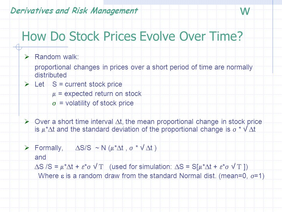 Derivatives and Risk Management w Effect of Dividends (dividend yield) If the underlying asset pays a continuous dividend yield, q:  E(S T ) = S 0 e (r-q)T  PV of E(S T ) = e -rT S 0 e (r-q)T = S 0 e -qT, then c = S 0 e -qT * N(d 1 ) – X* e -r*T * N(d 2 ) p = X*e -r*T * N(-d 2 ) – S 0 * N(-d 1 ) Where d 1 = [ ln(S 0 /X)+(r –q + 1 / 2  2 ) t ] /  t ] d 2 = d 1 -  t N(-d) = 1 – N(d)
