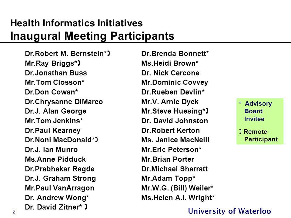 2 University of Waterloo Health Informatics Initiatives Inaugural Meeting Participants Dr.Robert M.