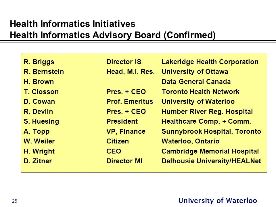 25 University of Waterloo Health Informatics Initiatives Health Informatics Advisory Board (Confirmed) R.