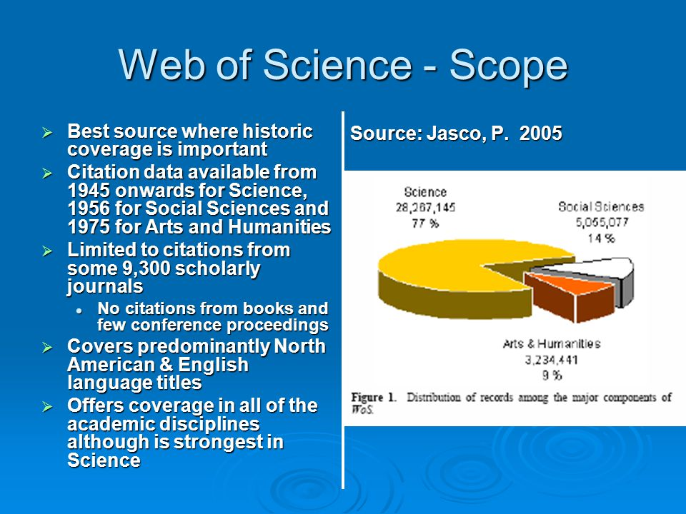 Web of Science - Scope  Best source where historic coverage is important  Citation data available from 1945 onwards for Science, 1956 for Social Sci
