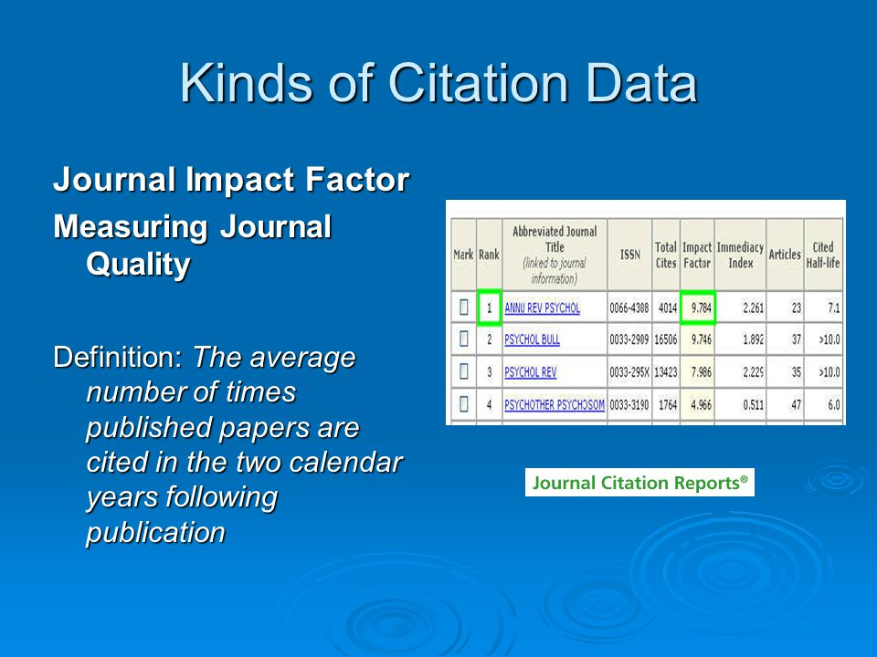 The Uses of Citation Data By Researchers: To look for research which up-dates earlier findings To look for research which up-dates earlier findings Identify related articles on same topic Identify related articles on same topic To look for replications of empirical research To look for replications of empirical research To look for who is citing ones own research To look for who is citing ones own research To follow a scholarly debate through time To follow a scholarly debate through time Trace the development of an accepted theory over time Trace the development of an accepted theory over time To identify significant publications or authors in a discipline To identify significant publications or authors in a discipline