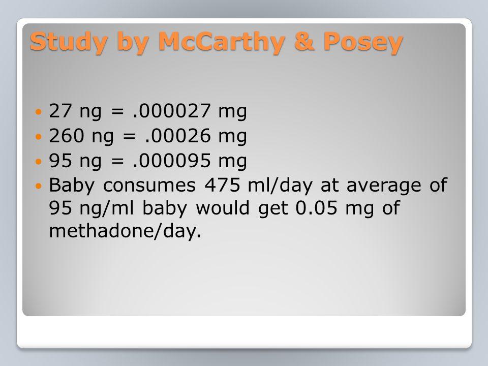Study by McCarthy & Posey 27 ng =.000027 mg 260 ng =.00026 mg 95 ng =.000095 mg Baby consumes 475 ml/day at average of 95 ng/ml baby would get 0.05 mg of methadone/day.