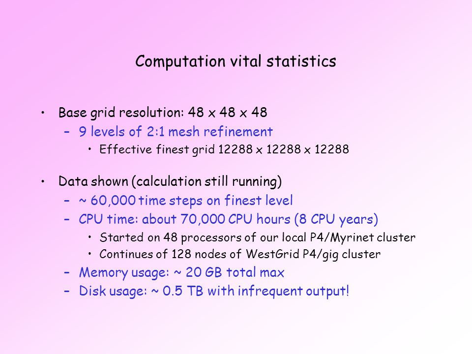 Computation vital statistics Base grid resolution: 48 x 48 x 48 –9 levels of 2:1 mesh refinement Effective finest grid 12288 x 12288 x 12288 Data shown (calculation still running) –~ 60,000 time steps on finest level –CPU time: about 70,000 CPU hours (8 CPU years) Started on 48 processors of our local P4/Myrinet cluster Continues of 128 nodes of WestGrid P4/gig cluster –Memory usage: ~ 20 GB total max –Disk usage: ~ 0.5 TB with infrequent output!