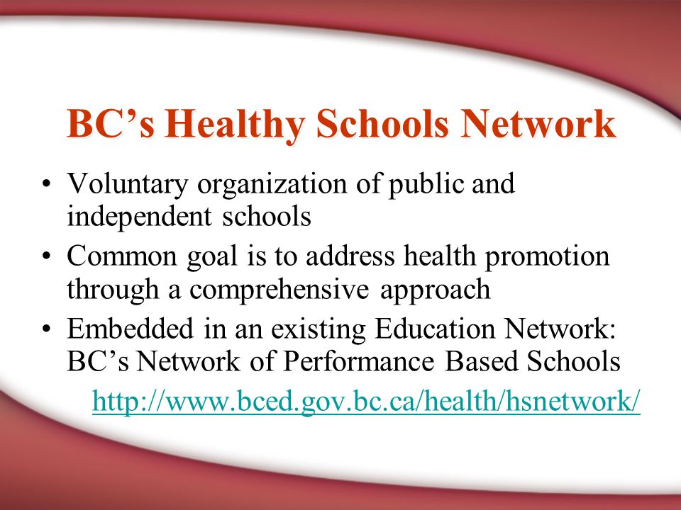 BC's Healthy Schools Network Voluntary organization of public and independent schools Common goal is to address health promotion through a comprehensive approach Embedded in an existing Education Network: BC's Network of Performance Based Schools