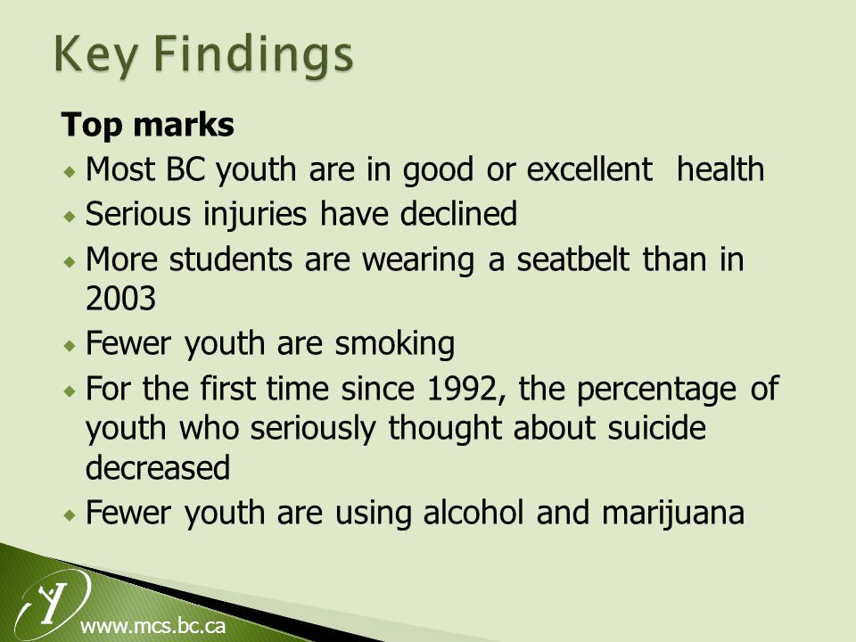 www.mcs.bc.ca Top marks  Most BC youth are in good or excellent health  Serious injuries have declined  More students are wearing a seatbelt than in 2003  Fewer youth are smoking  For the first time since 1992, the percentage of youth who seriously thought about suicide decreased  Fewer youth are using alcohol and marijuana