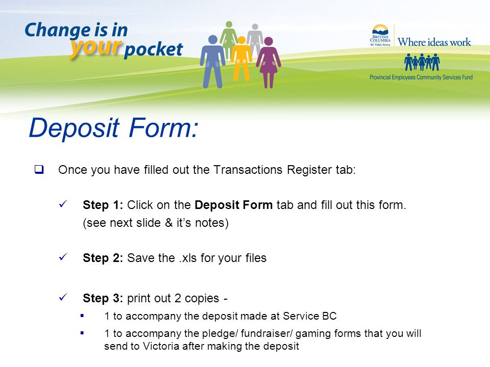 The Transaction Register Form.