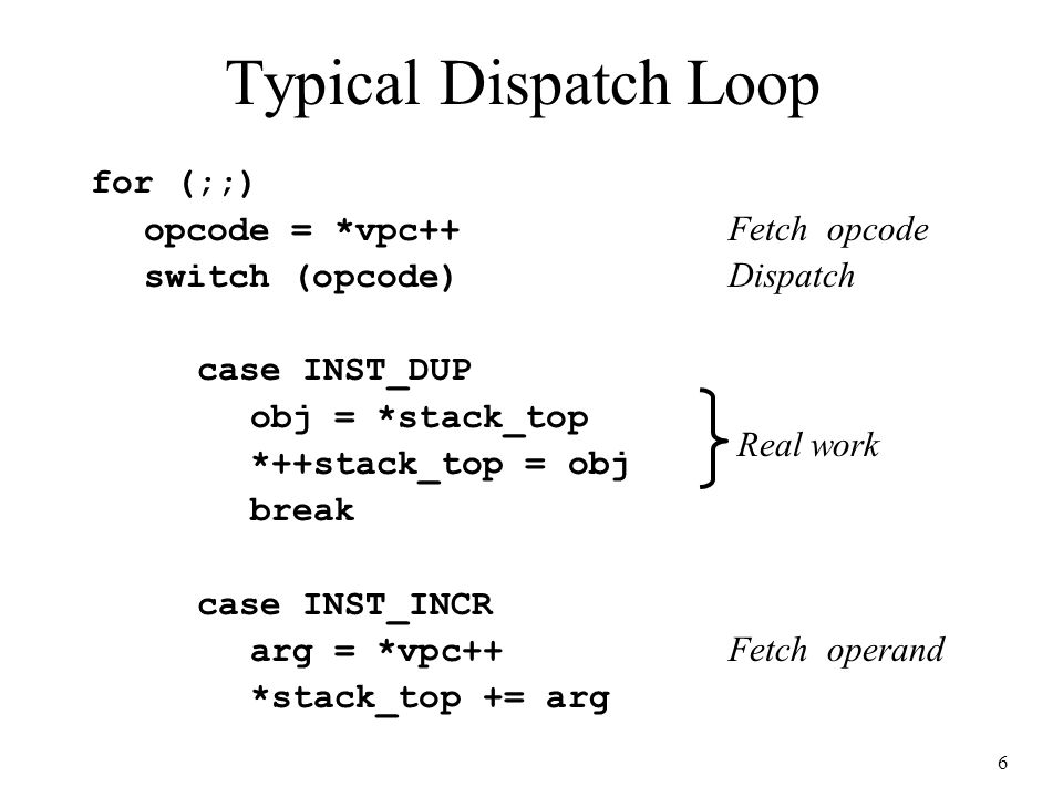 6 for (;;) opcode = *vpc++ Fetch opcode switch (opcode) Dispatch case INST_DUP obj = *stack_top *++stack_top = obj break case INST_INCR arg = *vpc++ F