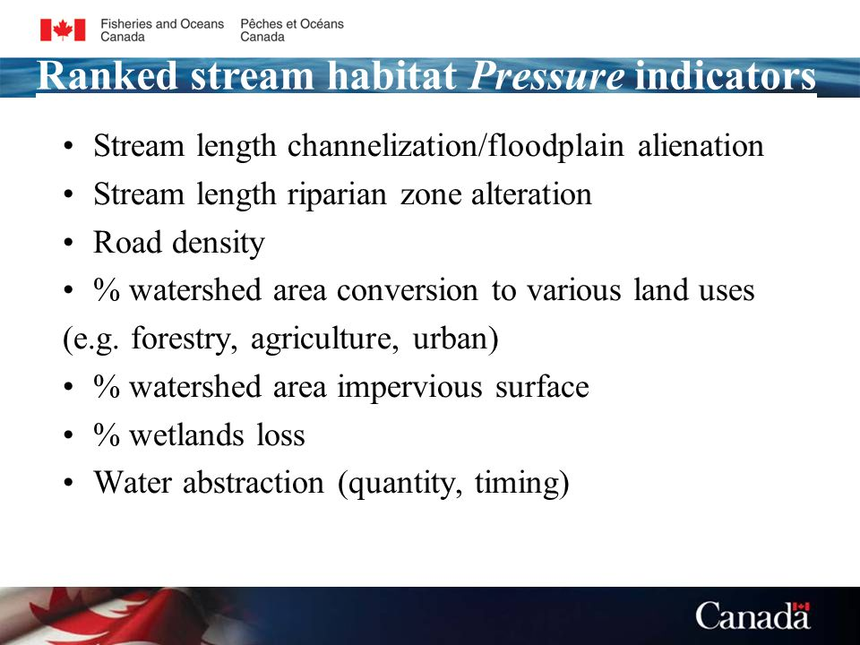 Stream length channelization/floodplain alienation Stream length riparian zone alteration Road density % watershed area conversion to various land uses (e.g.