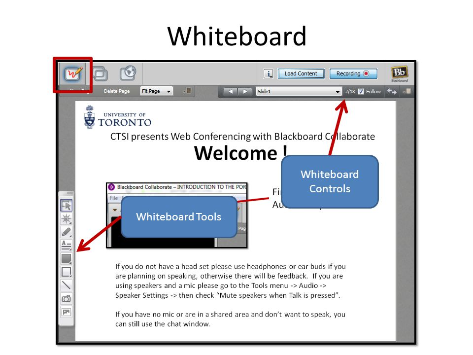 Whiteboard Whiteboard Tools Whiteboard Controls