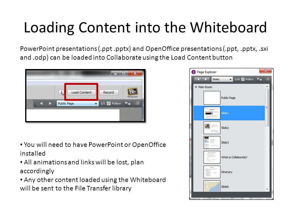 Loading Content into the Whiteboard PowerPoint presentations (.ppt.pptx) and OpenOffice presentations (.ppt,.pptx,.sxi and.odp) can be loaded into Collaborate using the Load Content button You will need to have PowerPoint or OpenOffice installed All animations and links will be lost, plan accordingly Any other content loaded using the Whiteboard will be sent to the File Transfer library
