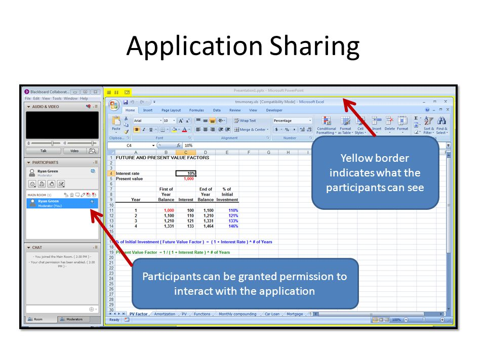 Application Sharing Yellow border indicates what the participants can see Participants can be granted permission to interact with the application