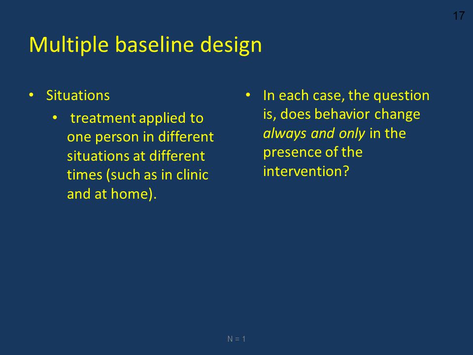 17 Multiple baseline design Situations treatment applied to one person in different situations at different times (such as in clinic and at home).