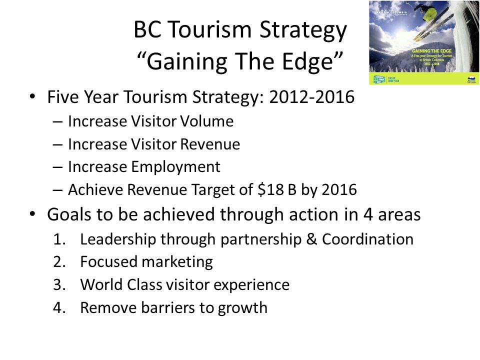 BC Tourism Strategy Gaining The Edge Five Year Tourism Strategy: 2012-2016 – Increase Visitor Volume – Increase Visitor Revenue – Increase Employment – Achieve Revenue Target of $18 B by 2016 Goals to be achieved through action in 4 areas 1.Leadership through partnership & Coordination 2.Focused marketing 3.World Class visitor experience 4.Remove barriers to growth