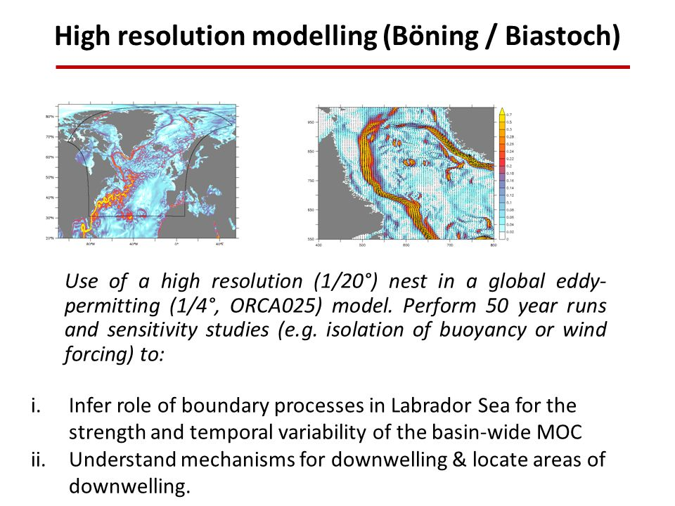 High resolution modelling (Böning / Biastoch) Use of a high resolution (1/20°) nest in a global eddy- permitting (1/4°, ORCA025) model.