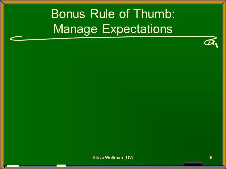  t Steve Wolfman - UW9 Bonus Rule of Thumb: Manage Expectations