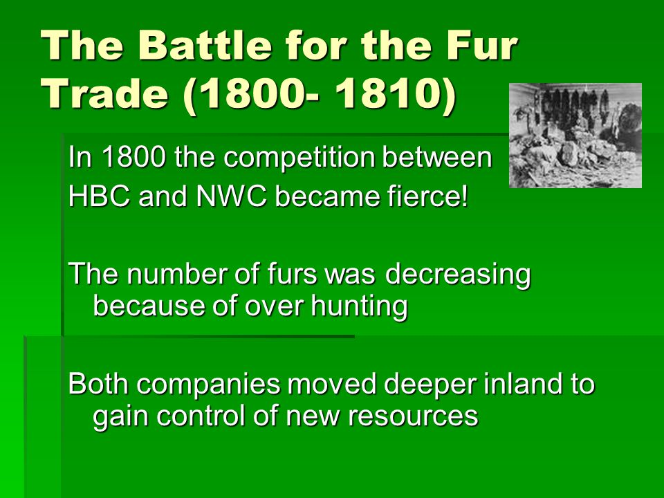 Battle for the Fur Trade  The NWC was especially aggressive  Established new posts in present day British Columbia and in northern Canada  Both companies opened forts beside the competition and promised more valuable goods than their rivals VS