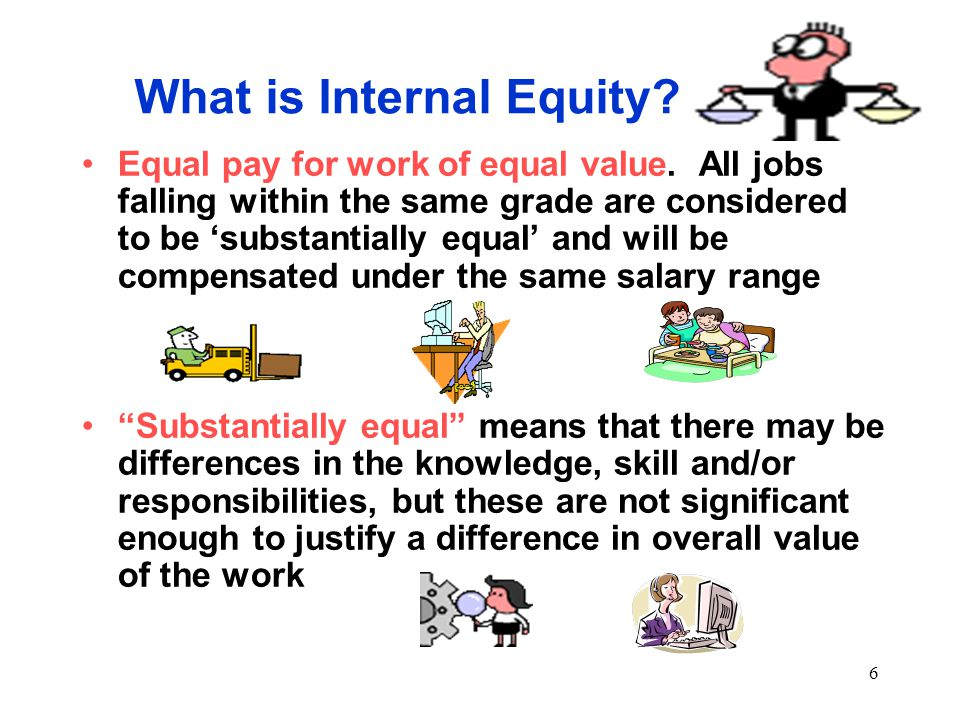 6 What is Internal Equity. Equal pay for work of equal value.