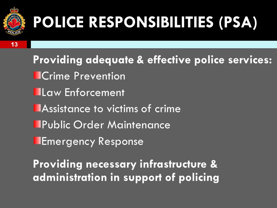 13 POLICE RESPONSIBILITIES (PSA) Providing adequate & effective police services: Crime Prevention Law Enforcement Assistance to victims of crime Public Order Maintenance Emergency Response Providing necessary infrastructure & administration in support of policing