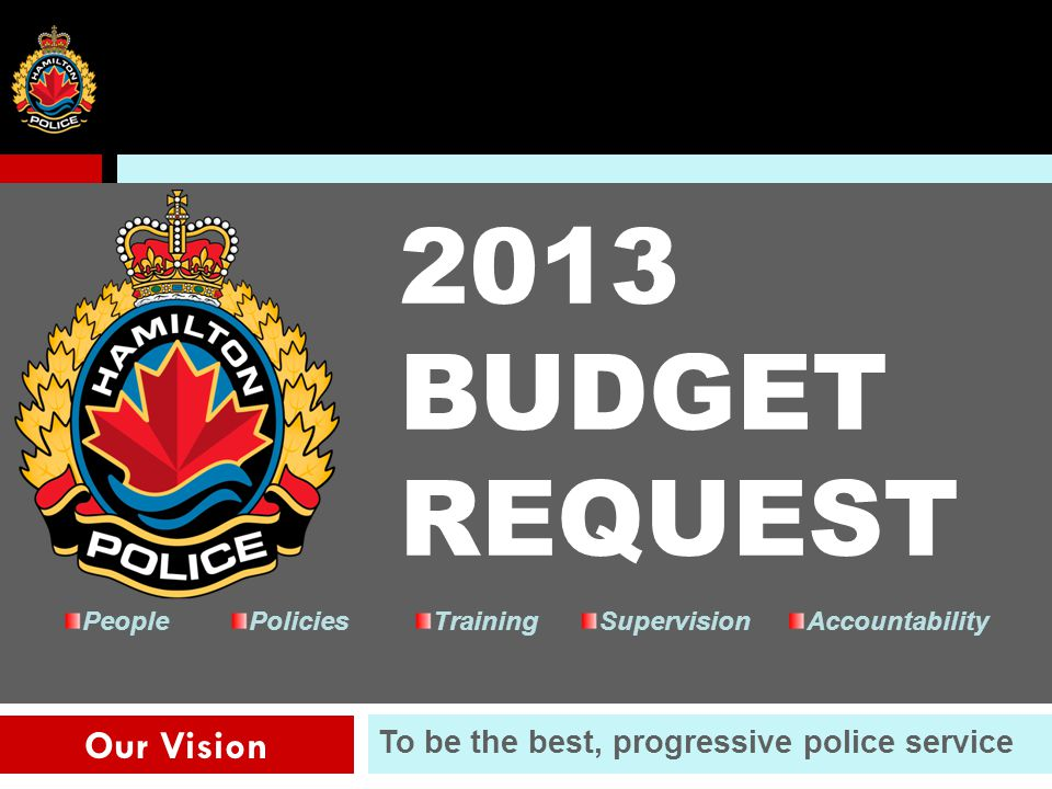 36 Our Vision To be the best, progressive police service PeoplePoliciesTrainingSupervisionAccountability 2013 BUDGET REQUEST