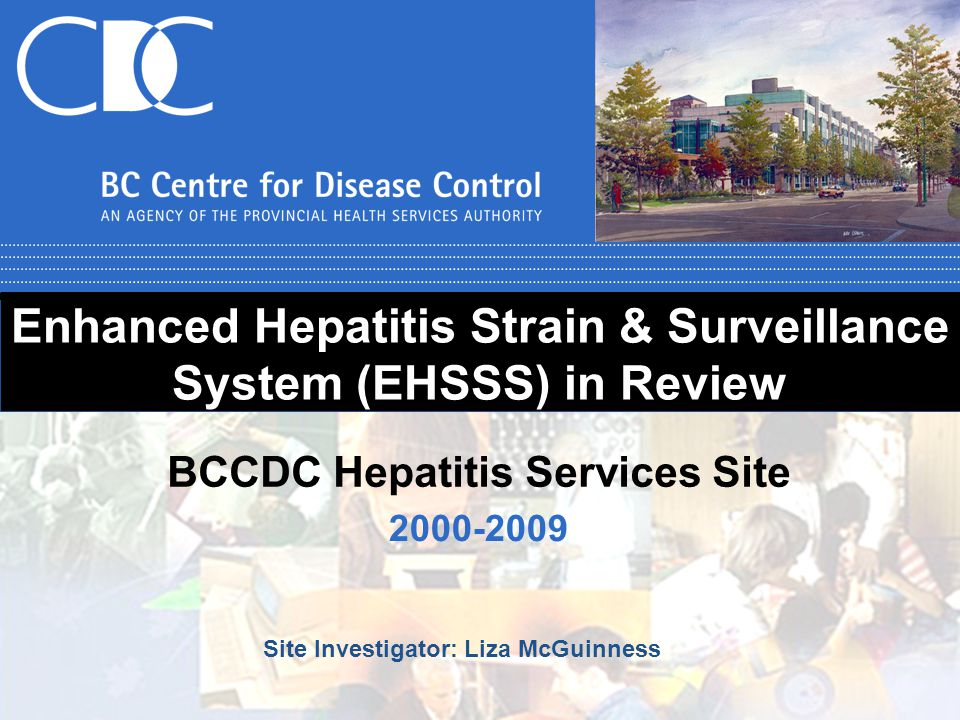 Enhanced Hepatitis Strain & Surveillance System (EHSSS) in Review 2000-2009 BCCDC Hepatitis Services Site Site Investigator: Liza McGuinness