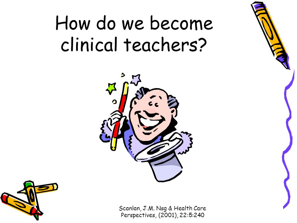 Scanlan, J.M. Nsg & Health Care Perspectives, (2001), 22:5:240 How do we become clinical teachers?