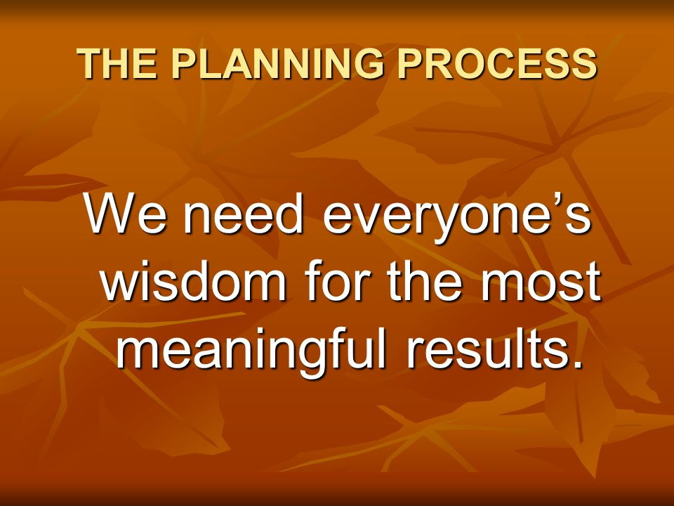 THE PLANNING PROCESS We need everyone's wisdom for the most meaningful results.