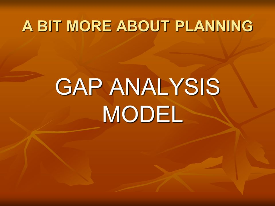 A BIT MORE ABOUT PLANNING GAP ANALYSIS MODEL