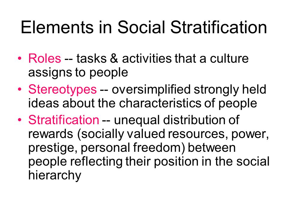 Elements in Social Stratification Roles -- tasks & activities that a culture assigns to people Stereotypes -- oversimplified strongly held ideas about
